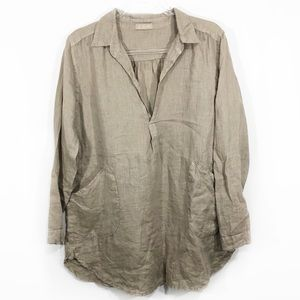 CP SHADES | oversized linen tunic top blouse tan